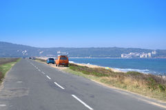 Coastal road by dunes beach,Bulgaria Stock Photo