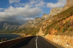 Coastal road of False Bay, South Africa. Coastal road of False Bay, Cape south coast in South Africa Stock Photos