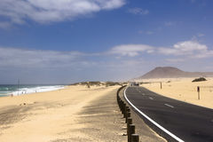 Coastal road in Fuerteventura stock images