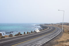 Coastal road in Jeju island Royalty Free Stock Image
