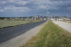 Coastal Road into Portbail, Normandy, France Stock Photography
