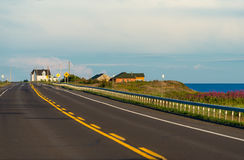 Coastal road on southern shore of Gaspe Peninsula. In Quebec, Canada royalty free stock images