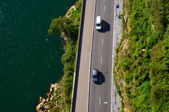Coastal road. View from above Royalty Free Stock Images