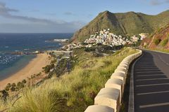 Coastal road and village of San Andres Tenerife Canary Islands royalty free stock photography