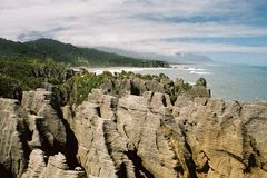 Coastal rock formations. Rock formations on the coast of New Zealand Stock Photography