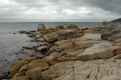 Coastal rocks. Bicheno, Tasmania, Australia stock photography