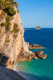 Coastal rocks ans small island in Adriatic Sea Stock Images