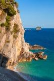 Coastal rocks ans small island in Adriatic Sea stock images