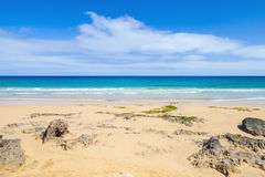 Coastal rocks on the beach of Porto Santo island Royalty Free Stock Image