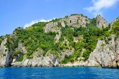 Coastal rocks of Capri island Stock Photography