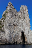 Coastal rocks of Capri island, Mediterranean Sea, Italy Royalty Free Stock Photo