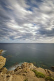 Coastal with rocks ,long exposure picture from Costa Brava, Spai Royalty Free Stock Photos