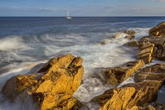 Coastal with rocks ,long exposure picture from Costa Brava, Spai Royalty Free Stock Image