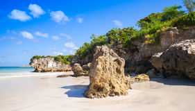 Coastal rocks of Macao Beach, natural landscape. Of Dominican Republic, Hispaniola Island Royalty Free Stock Image