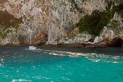 Coastal rocks at the Mediterranean Sea in Capri island Stock Image