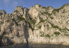 Coastal rocks at the Mediterranean Sea in Capri island Royalty Free Stock Photo