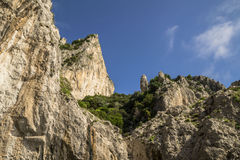 Coastal rocks at the Mediterranean Sea in Capri island Royalty Free Stock Image