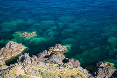 Coastal rocks in Mediterranean Sea, Corsica Stock Image