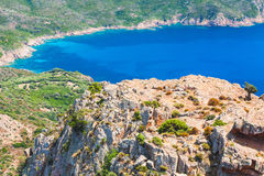 Coastal Rocks and sea in summer day, Corsica Stock Images