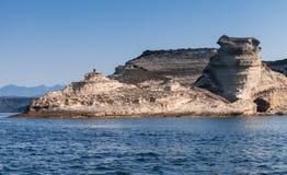 Coastal rocks in Strait of Bonifacio, Corsica Royalty Free Stock Photography