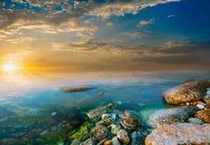 Coastal rocks and sunset Royalty Free Stock Image