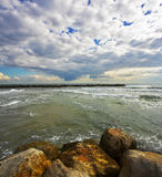 Coastal rocks on Tel Aviv Stock Photo