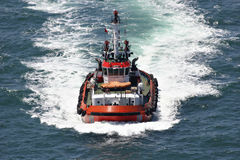 Coastal safety, salvage and rescue boat. At high speed Royalty Free Stock Image