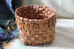 Coastal Salish Cedar Root Basket- 2. This beautiful cedar root herb basket is an example of the beautiful basketry handcrafted by the Coastal Salish people of Stock Photography