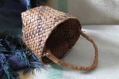 Coastal Salish Cedar Root Basket. This fabulous cedar root herb basket is and example of the beautiful basketry handcrafted by the Coastal Salish people of the Royalty Free Stock Image