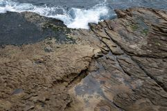 Bondi, seascape waves across rocks stock photo