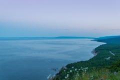 Coastal Scene on the Cabot Trail at dusk Stock Images