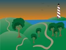 Coastal scene dusk lighthouse, hills, tree paths Stock Images