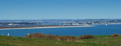 Coastal scene England. Poole Harbour, Sandbanks, Studland and Brownsea Island from Old Harry Rocks Stock Image