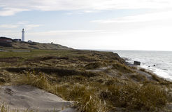 Coastal scene at north denmark with lighthouse. Coastal scene with grass and sand at north denmark with lighthouse Royalty Free Stock Photos