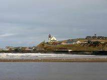 Coastal scene, white church Royalty Free Stock Photo
