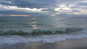 Coastal scenery at sunset stock footage