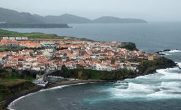 Coastal settlement at the Azores Stock Image