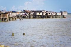 Coastal Slums of Tawau. Image of coastal slums located at Tawau, Malaysia royalty free stock photography