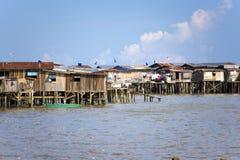Coastal Slums of Tawau. Image of coastal slums located at Tawau, Malaysia royalty free stock photos