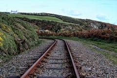 Coastal steam train track Royalty Free Stock Photo