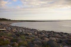 Coastal stone Spit. White Sea, the Gulf, the island Solovetsky Stock Photos