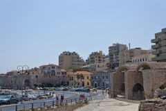 On the coastal street of Heraklion. On the right the old Venetia Royalty Free Stock Photography