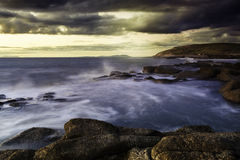 Coastal Sunset. Beautiful Seascape sunset taking from a Cumbria Beach stock image