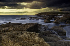 Coastal Sunset. Beautiful Seascape sunset taking from a Cumbria Beach royalty free stock photos