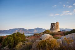 Coastal Tower in Villasimius, Sardinia Royalty Free Stock Photo