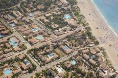 Coastal town. Aerial view on coastal district of Oludeniz town, Turkey royalty free stock photo