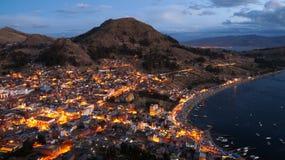 A coastal town at dusk. A coastal town at dusk in Bolivia stock photo