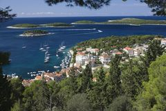 Coastal town in the island of Hvar Dalmatia Royalty Free Stock Image