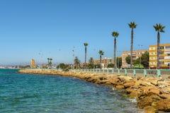 La Linea de la Concepcion and the Poniente beach Royalty Free Stock Photo