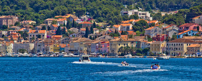 Coastal town of Mali losinj. Mali Losinj, Croatia, 05.07.2011. - Adriatic coastal town of Mali losinj waterfront and harbor, Dalmatia, Croatia Royalty Free Stock Photography